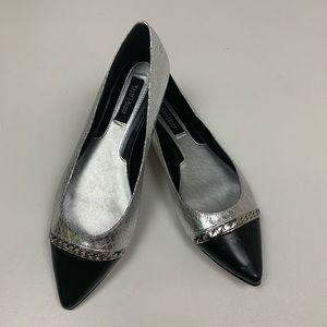 White House Black Market Leather Silver Flats 8M